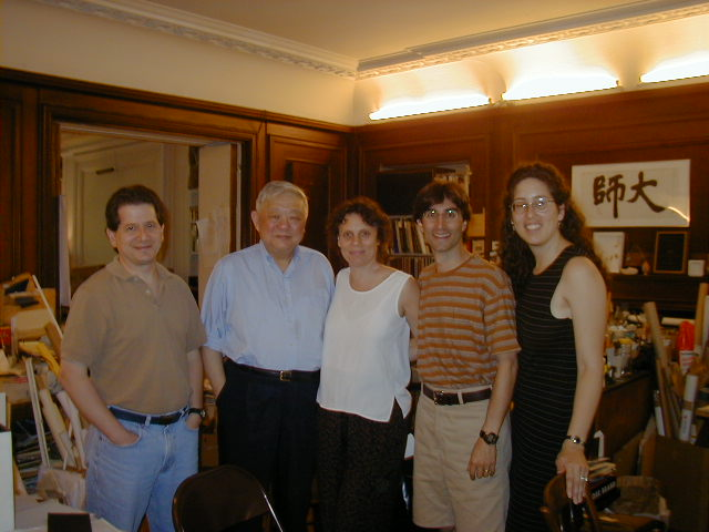 In Ming's studio with David York (Production Manager), Ming, Emily Mann (Artistic Director) and Mara Isaacs (Resident Producer)