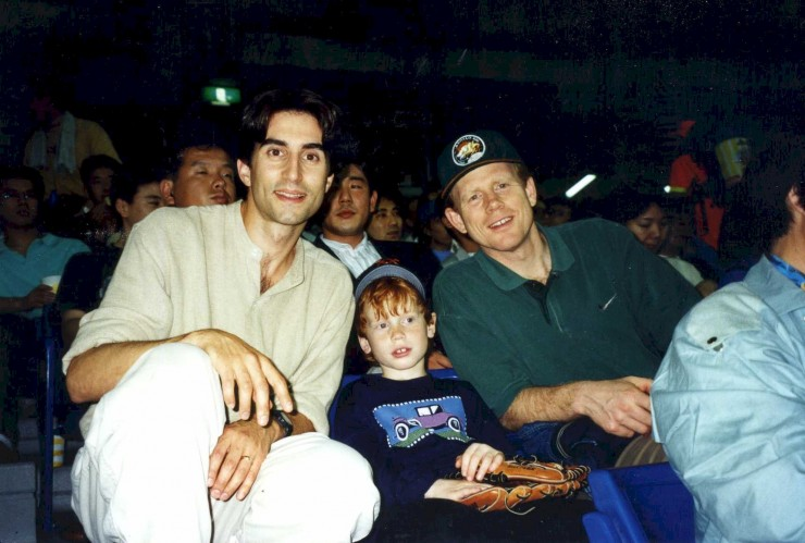 "1994 in Tokyo with Ron Howard and his son during a publicity trip for ""Apollo 13"""