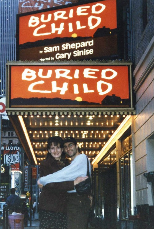 "1996 with Janet under the marquee of ""Buried Child"" on Broadway (which I assistant directed for Gary Sinise)"