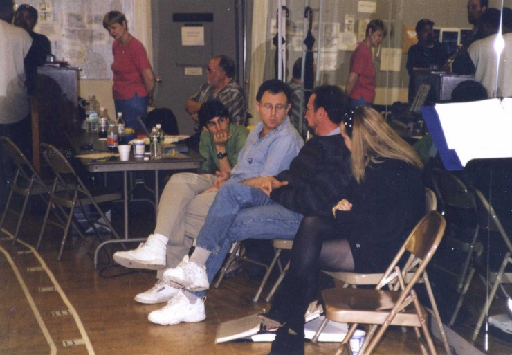 "1996 with Mike Ockrent, Steve Zweigbaum (PSM) and Susan Stroman rehearsing ""A Christmas Carol"" for Madison Square Garden (I assistant directed for the late, great Mike Ockrent)"