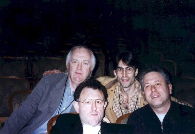 "1997 with Tim Rice, Mike Ockrent and Alan Menken during rehearsals for ""King David"" opening the New Amsterdam Theatre"