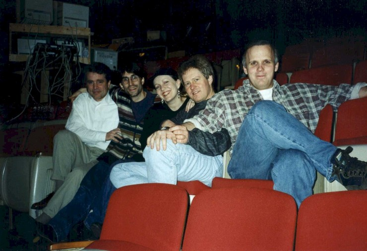 "1997 with Tommy Thompson (Book writer), Susan Stroman (Choreographer), Glen Kelly (Dance Arranger) and Scott Ellis (Director) during ""Steel Pier"" rehearsals (I assistant direted)"
