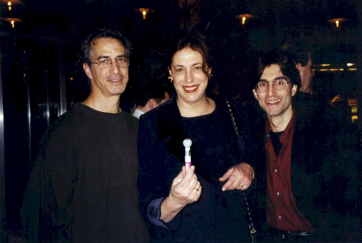 "1998 with David Strathairn and Lynn Meadow at the opening of Sam Shepard's ""Eyes for Consuela"""