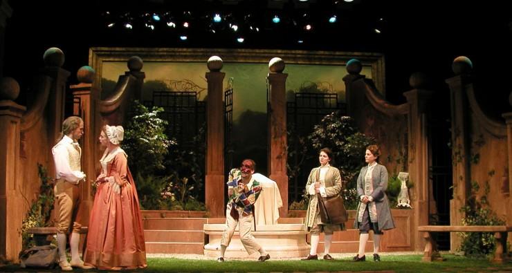Agis (Jeff Cribbs), Leontine (Amy Van Nostrand), Harlequi (Harry Bouvy), Corine (Antoinette Lavecchia), Leonide (Ali Marsh)