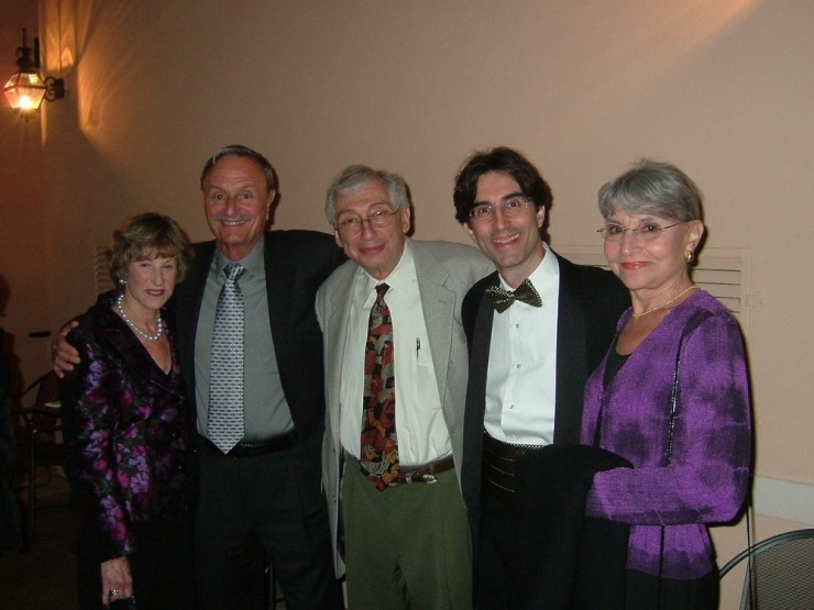 Michael Unger with his parents and the Goldsmiths on opening night