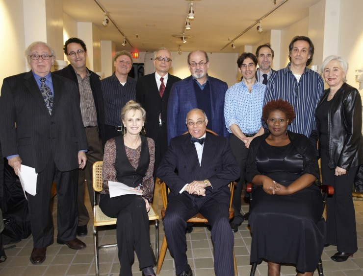 THE ARTS & LITERATURE EVENING - BACK ROW: Isiah Sheffer, Tony Kushner, ____, William Germano, Salman Rushdie, Michael Unger, David Greenstein, Louis Rosen, Olympia Dukakis - FRONT ROW: Siri Hustvedt, Dr. George Campbell, Capathia Jenkins