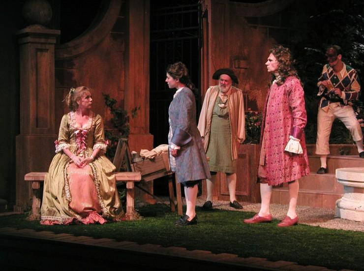 Leontine (Amy Van Nostrand), Leonide (Ali Marsh), Dimas (Sam Lloyd, Sr.), Hermocrate (Peter Kybart), Harlequin (Harry Bouvy)
