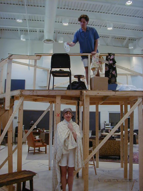 Sue Cella (Dotty), Paul Whitthorne (Garry) - trying the sardine slide