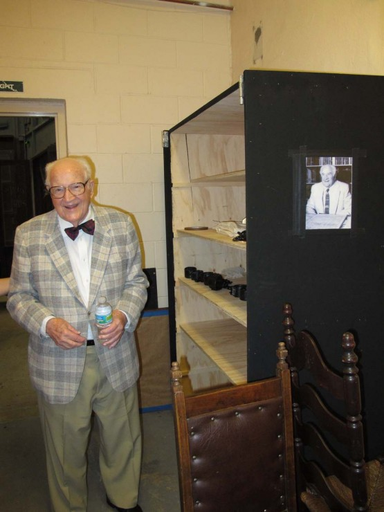 Composer Robert Ward and the Crucible prop box with his picture on it.