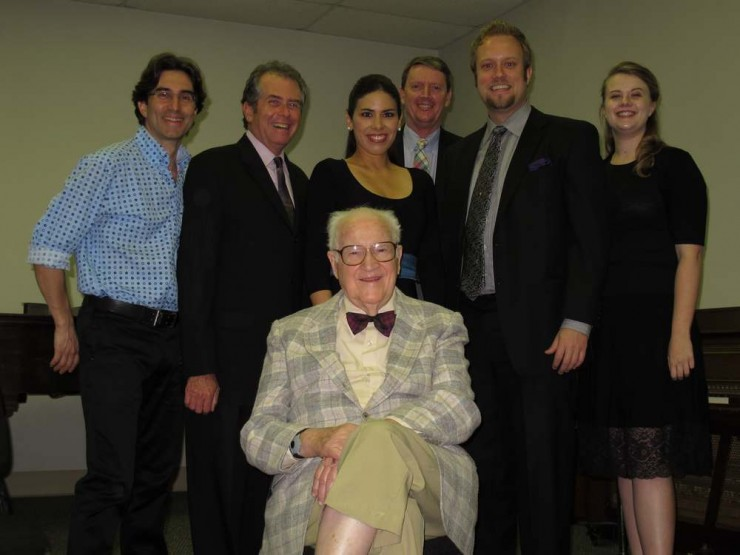 Composer, Robert Ward, Robert Kolt, Maestro Richard Cordova and Studio Artists before SILL Lecture
