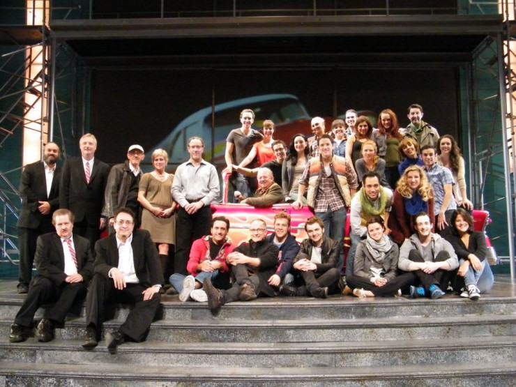 "The cast and band with the creator of ""Grease"" Jim Jacobs."