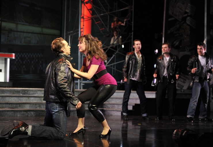 "Danny (Skyler Adams) and Sandy (Emma Ritchie) and the Greasers ""All Choked Up"""
