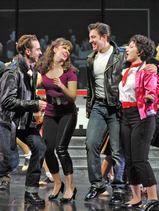 "Danny (Skyler Adams), Sandy (Emma Ritchie), Kenickie (Adrian Aguilar) and Rizzo (Jessica Kingsdale) ""We Go Together"""
