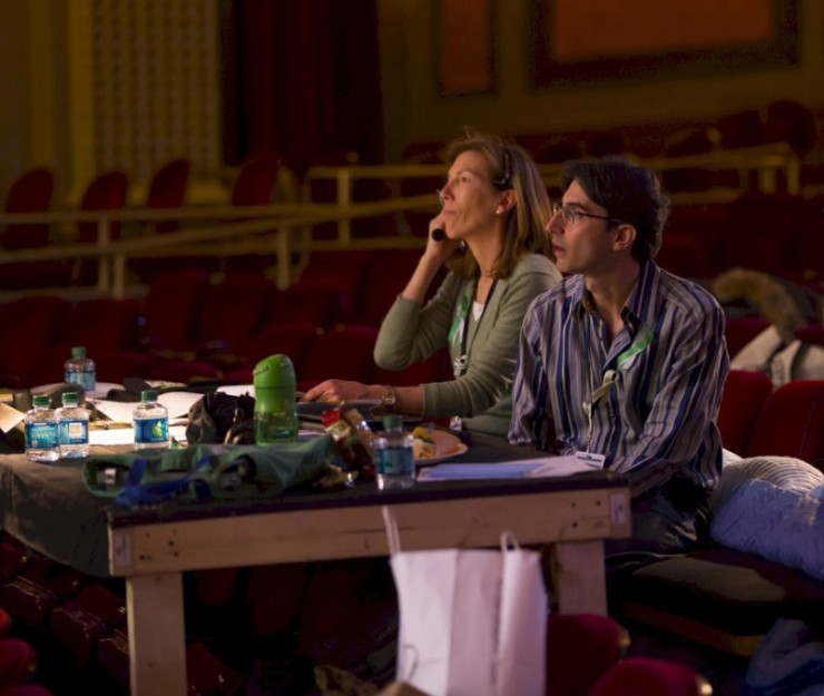 At the Director's Table with assistant (and chum from Ithaca College), Lisa Van Roden
